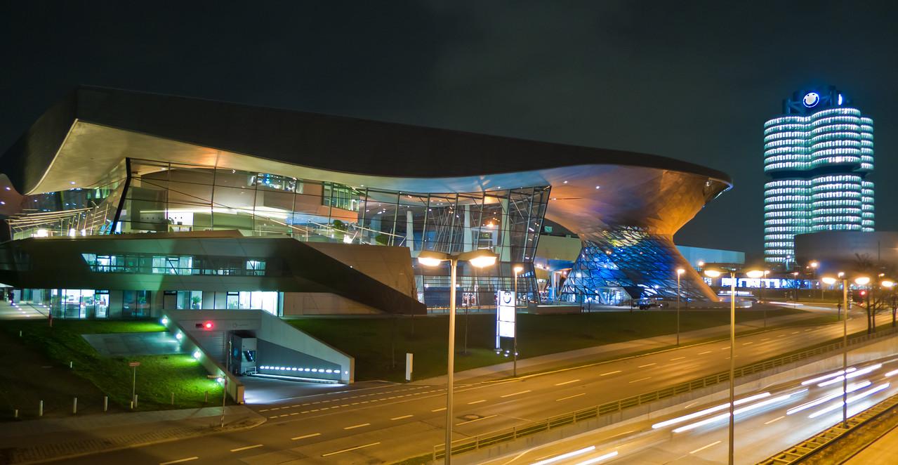 "BMW Welt exhibition facility at night - <a href=""http://en.wikipedia.org/wiki/BMW_Welt"">http://en.wikipedia.org/wiki/BMW_Welt</a>"