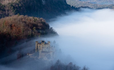 Hohenschwangau Castle disappears in to the fog.