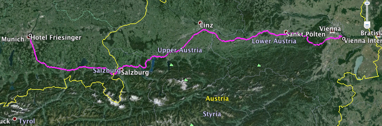 Our little drive route upon arrival in Vienna.  Off to Munich!