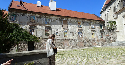 Judith in the plaza near one of the Bratislava churches.