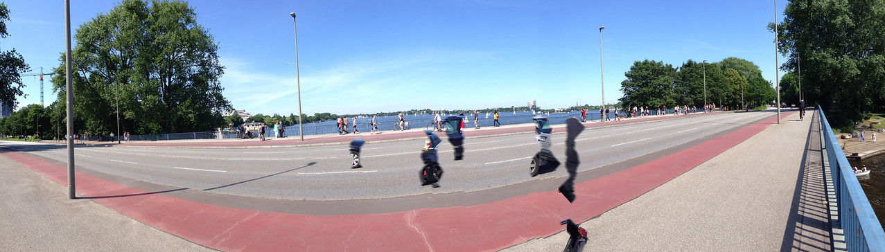 A view from the bridge.  The suspended blobs are an artefact from the iPhone panorama photo.  Art?