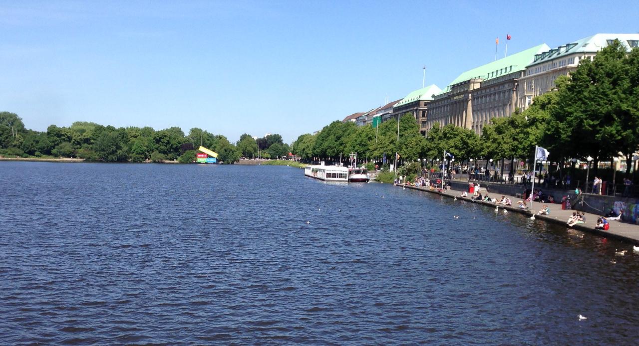 The inner lake right in the heart of Hamburg.