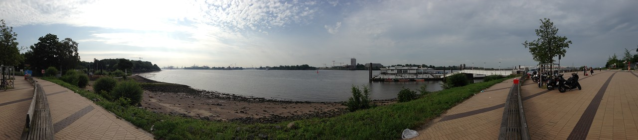 A ferry terminal and plaza on the river.