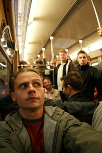 On the subway to see Bayern Munich's opening soccer match of the season.