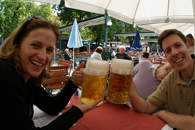 The Attache and Pete.  Those are 1 liter beers.  If you don't know metric, it doesn't matter.  Just look at those monsters.