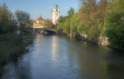 Isar River and Saint Luke's Church