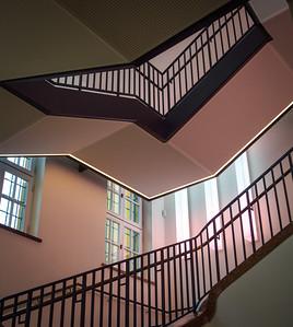 "Lenbachhaus: stairway with lighting installation ""Rotweinrot"", Dietmar Tanterl, 2008"