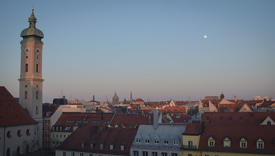 Petersplatz, looking east at dusk