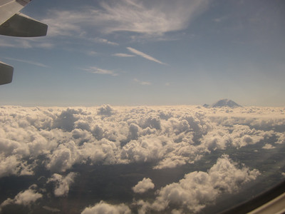 Mt Ranier peeking through the clouds.