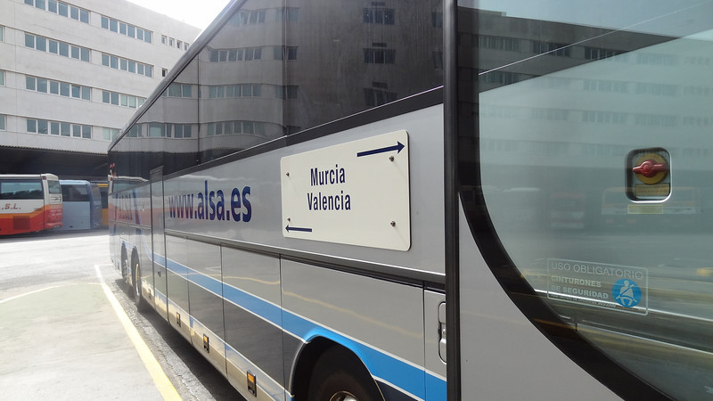 Catching the bus to Murcia at the bus station in Valencia