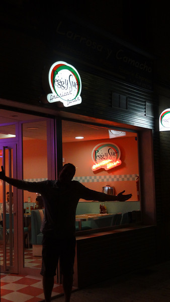 Grabbing a bite to eat at Peggy Sue's American Diner