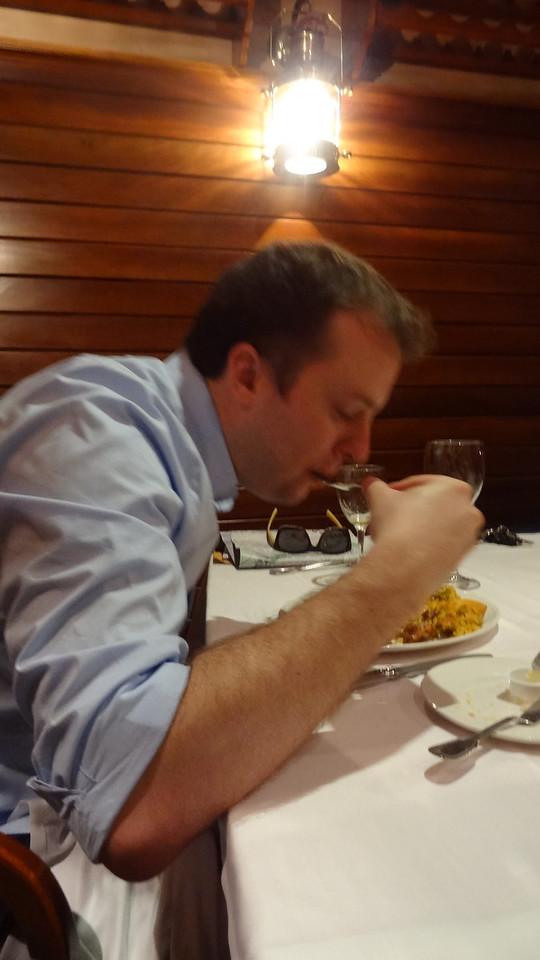 X enjoying his Valencian paella