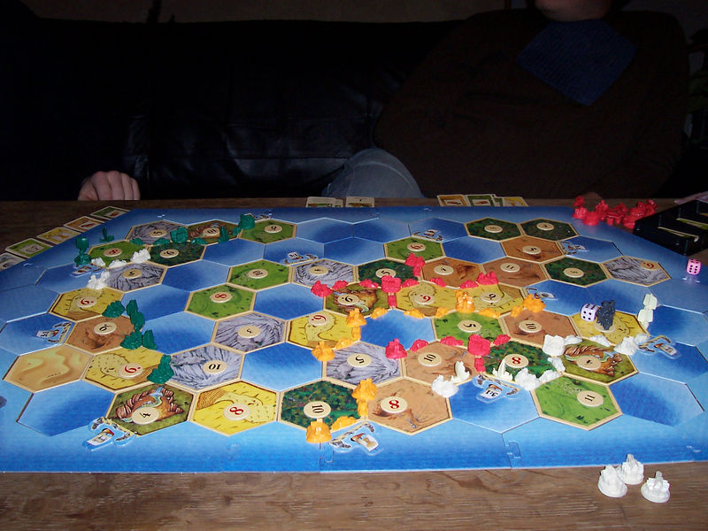 Because it dictates all our lives here, a photo: Settlers of Catan (Die Siedler von Catan, if you will).