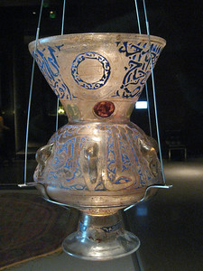 Mosque lamp from Egypt, 17th century.  Made of such delicate, translucent glass.