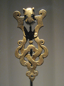 Brass door knocker from Iraq (probably Mosul) early 13th century.