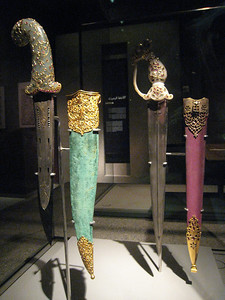 Indian daggers and scabbards: steel inlaid with jade, emeralds and diamonds (when only the best will do).