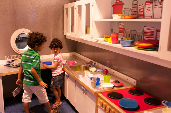 Kids in the ship kitchen