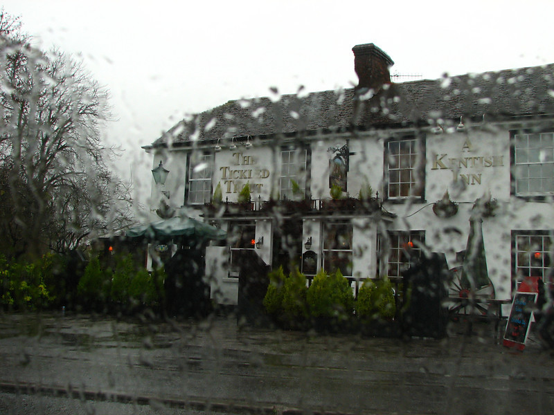 Tickled Trout pub seen through car window