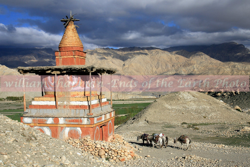 A Great Chorten stands as a gateway into the village of Tsarang in Upper Mustang