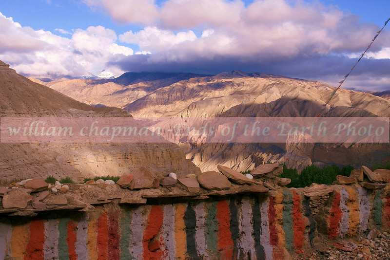 Coming down mountain pass into Tsarang village in upper Mustang