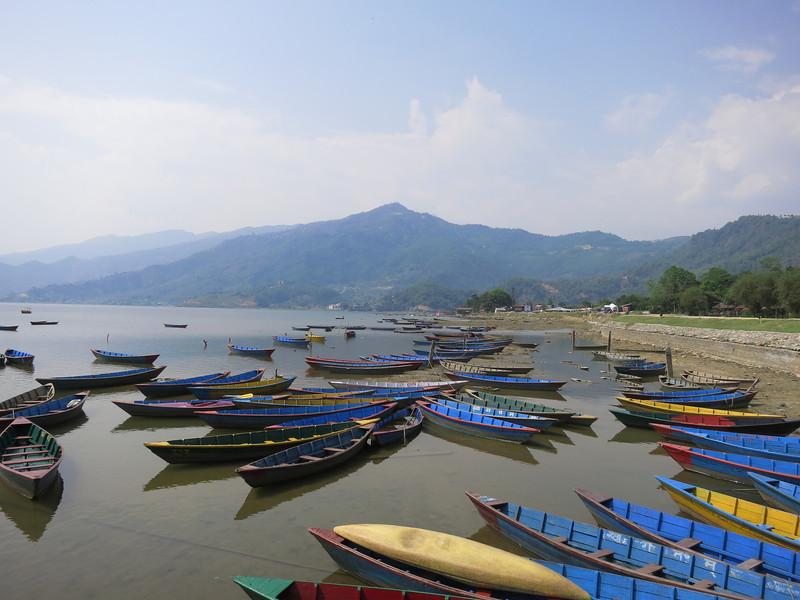 Boats on Phewa Lake at Pokhara