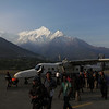 Our Agni Air Dornier-228 after landing at Jomsom. Agni's other 228 would crash into the mountainside here just a few days later, killing 15.