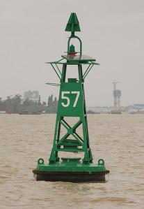 Channel marker, Mekong River, near Muy Tho, enroute Ben Tre.