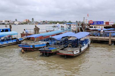 Mekong Delta tourist boats, Ben Tre.