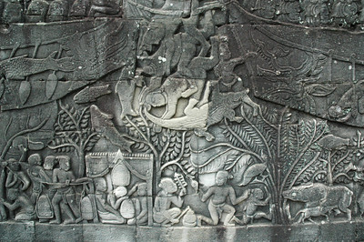A naval battle is depicted, with soldiers being driven overboard, to succumb to crocodiles. Daily life of one group of slaves is depicted at bottom.