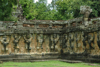 Interior wall, Angkor Thom, with the Hindu monkey Hanuman in bas relief, providing architectural support. Although the Bayon temple within Angkor Thom is Buddhist, the city represents a transitional period, and Hindu references are frequent in the art.