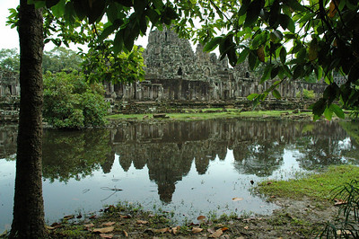 The Bayon temple, inside the ancient city of Angkor Thom, Cambodia.