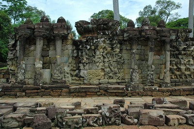 Actually, this wall in Angkor Thom is packing six trunks, and dozens of apsaras -- dancers -- in bas relief.