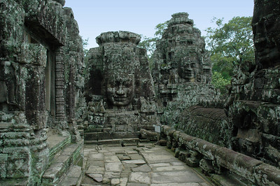 Detail of the Bayon Temple, Angkor Thom, Cambodia.