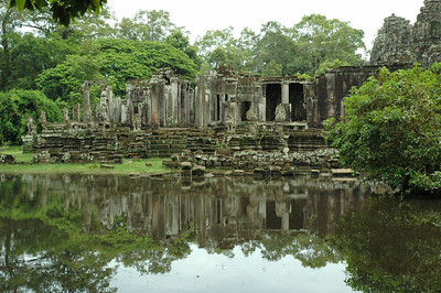 Detail of Bayon Temple, in the center of the ancient Khmer capital of Angkor Thom.