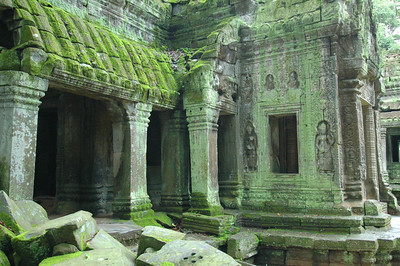 Detail of Ta Phrom temple, Buddhist Monastery and University, ca. 12th century during Khmer empire. Angkor, Cambodia.