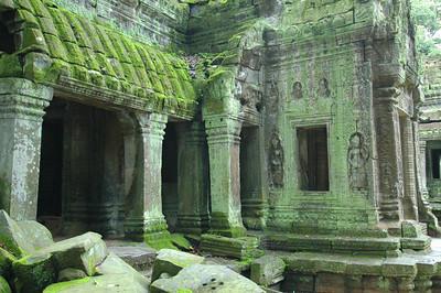 Detail of Ta Phrom temple, Buddhist Monastery and University, ca. 12th century during Khmer empire. Angkor, Cambodia.