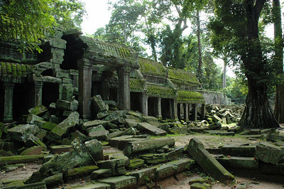 The Ta Phrom complex consists of an outer wall 1 km by 0.6 km and four concentric inner galleried walls like this one. Angkor, Cambodia.