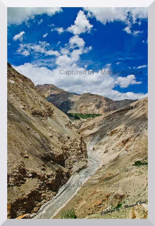 Cold Desert Terrain - Spiti River (below) & the Himalayas