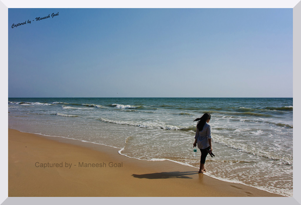 """""""To myself I am only a child playing on the beach, while vast oceans of truth lie undiscovered before me - Isaac Newton"""" - Colva Beach"""