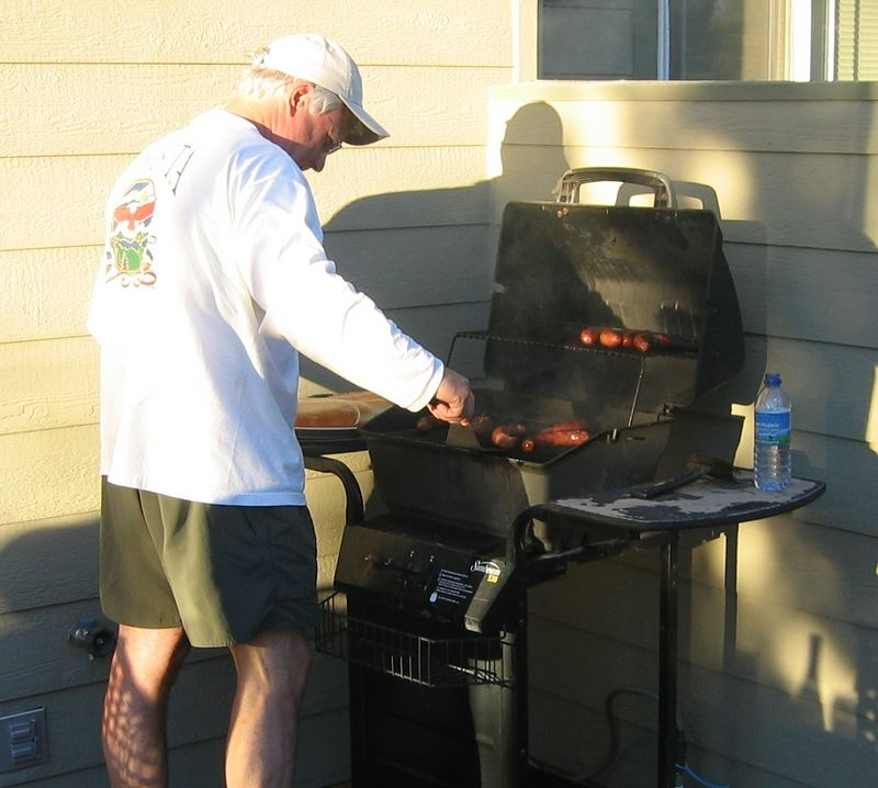 Roger manning the grill
