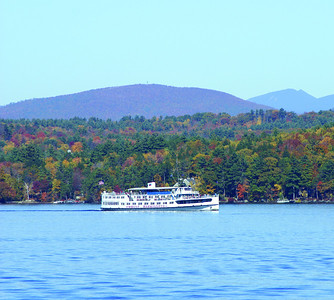 M/S Mount Washington on Lake Winnipesaukee. Red Hill and the Sandwich Mountain Range in the background.