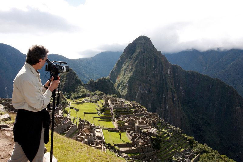"Ralph taking video footage of ""Machu Picchu"", one of the new wonders of the world in Peru."