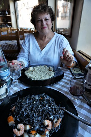 Quick lunch near the AirBnb - black linguine with shrimp & crabmeat and porcini risotto