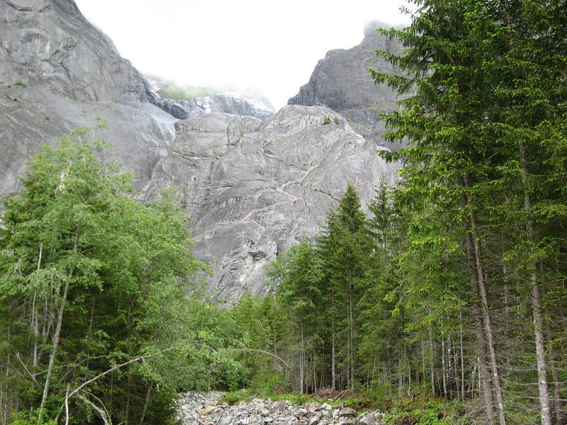Wooden ladder up to the Gletscherbar near  Grindelwald