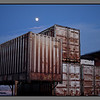 Containers with moon<br /> Bodø freight terminal