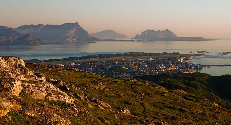 "Wiew from Keiservarden (""Emperer's Cairn"") - the highest point near Bodø city"