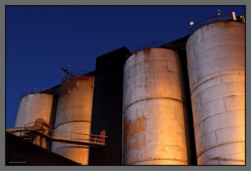 Tanks under the stars <br /> Herring oil factory, Bodø