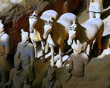 Xi'an's Terracotta Army and  China's first Emperor,  Qinshihuang's tomb (r. 221-207 BC)   .