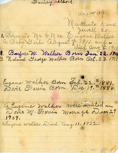 Albert and Dovie Walker family record showing marriage and birth dates.