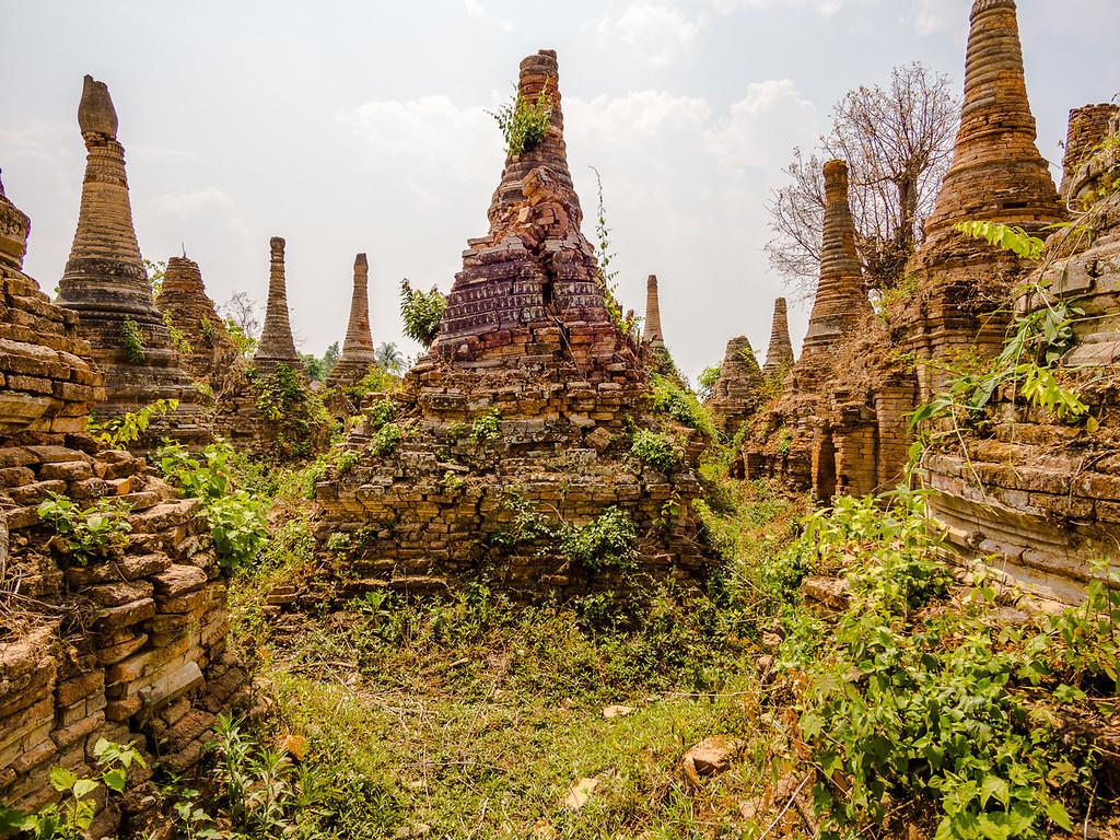 Pagodas in ruins. Sankar village, Inle Lake, Myanmar.